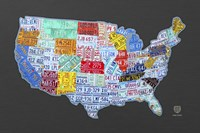 Massive Usa License Plate Map by Design Turnpike - various sizes