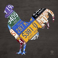 License Plate Art Rooster Fine Art Print
