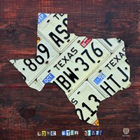 Texas License Plate Map Large Fine Art Print
