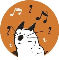 Orange Music Cat Fine Art Print