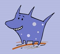 Purple Polka Dot Dog Fine Art Print