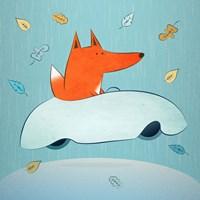 Fox In Car Framed Print