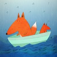 Fox In A Boat Framed Print