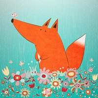 Fox In Flowers Framed Print