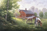 Country Road W/ Horses/Barn Fine Art Print