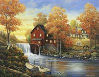 Autumn Sunset At The Old Mill Framed Print