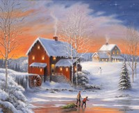 Winter At The Old Mill Fine Art Print
