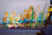 Industry cranes in harbor, Klaipeda, Lithuania by Keren Su - various sizes, FulcrumGallery.com brand