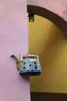 Wall Decorated with Teapot and Cobbled Street in the Old Town, Vilnius, Lithuania III Fine Art Print