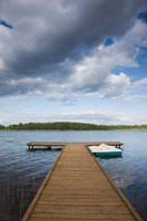 Lithuania, Grutas, lake and pier Fine Art Print