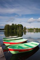 Lithuania, Trakai Historical NP, Lake Galve boats Fine Art Print
