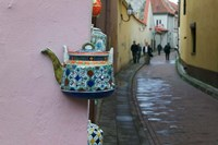Wall Decorated with Teapot and Cobbled Street in the Old Town, Vilnius, Lithuania II Fine Art Print