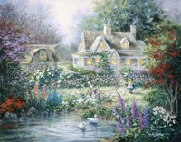 Feeding Geese by Nicky Boehme - various sizes - $38.99