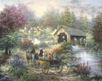 Merriment At Covered Bridge Fine Art Print