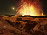 Future astronauts observe an eruption on Io, Jupiter's super-volcanic Moon by Ron Miller - various sizes - $30.49
