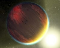 A cloudy Jupiter-like planet that orbits very close to its fiery hot star - various sizes