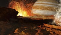 A scene on Jupiter's moon, Io, the most volcanic body in the solar system Fine Art Print