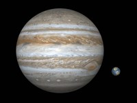 Artist's concept Comparing the Size of the Gas Giant Jupiter with That of the Earth by Walter Myers - various sizes