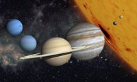 The Planets and Larger Moons to scale with the Sun Fine Art Print