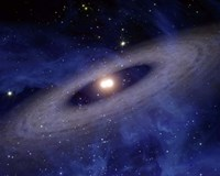 Planets and Asteroids circle around two suns - various sizes