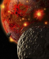 Asteroid Impacts Early Earth by Ron Miller - various sizes, FulcrumGallery.com brand