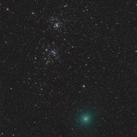Comet Hartley 2 and the Double Cluster Fine Art Print