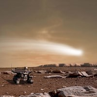 Close pass of Comet C/2013 A1 over Mars Fine Art Print