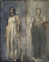 Two Studies Of A Young Woman From Trastevere, Rome, 1858 Fine Art Print