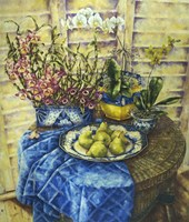 Orchids And Pears Fine Art Print