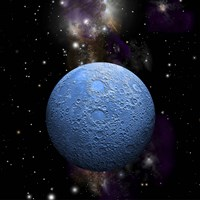 Artist's depiction of a cratered moon in space with a Nebula in the background Fine Art Print