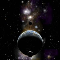 An Earth type world with two moons against a background of Nebula and stars Fine Art Print