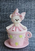 Teddy In Cup Pink by Sugar High - various sizes