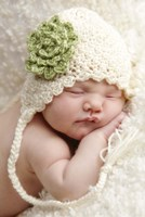 Baby In White And Green Flower Fine Art Print