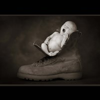 Baby And Boot Nap Fine Art Print