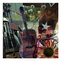 "Guitar Collage by Sisa Jasper - 22"" x 22"" - $34.49"