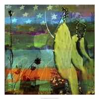 Cactus & Flag Collage Fine Art Print
