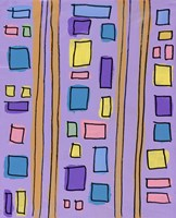 Squares and Stripes Purple Fine Art Print