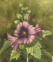 Lady Bug on Hollyhocks by Dempsey Essick - various sizes, FulcrumGallery.com brand