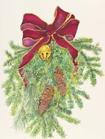 Evergreen Branch With Bow by Joanne Porter - various sizes