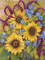 Sunflowers And Thistles Fine Art Print