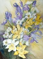 Iris, Daisies, And Daffodils Fine Art Print