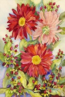 Red Gerbera Daisies And Berries Fine Art Print