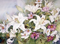 White Lilies And Mixed Colored Cosmos by Joanne Porter - various sizes