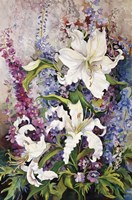 White Oriental Lilies & Pink And Purple Delphinium Fine Art Print