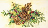 Holly And Pine Cones Fine Art Print