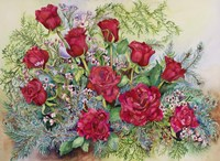 Red Roses With Evergreens by Joanne Porter - various sizes