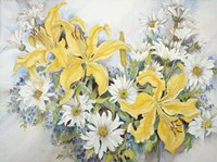 Yellow Lilies-Forget Me Nots-Daisy's by Joanne Porter - various sizes