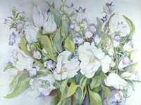 White Tulips And Canterbury Bells Fine Art Print