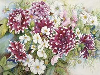 Burgundy Dahlias & Cosmos by Joanne Porter - various sizes