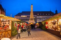 Christmas Market at Twilight, Germany Fine Art Print